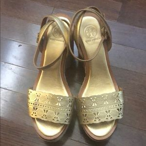 Tory Burch Woven Gold Strap Wedges